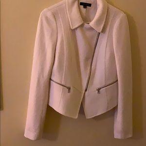 Ann Taylor winter white wool asymmetrical jacket